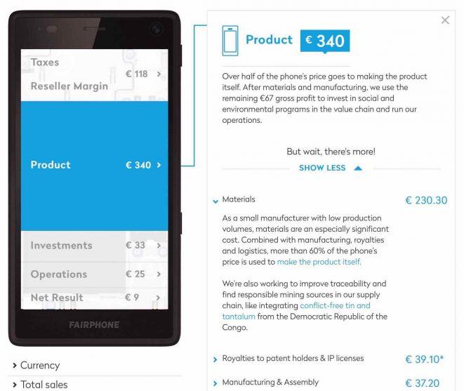 Fairphone Preis Aufschlüsselung